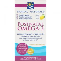 Nordic Naturals, Postnatal Omega-3, Lemon, 650 mg, 60 Soft Gels Biografie, wspomnienia