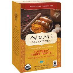 Numi Tea, Organic Tea, Herbal Teasan, Turmeric Three Roots, Caffeine Free, 12 Tea Bags, 1.42 oz (40.2 g)