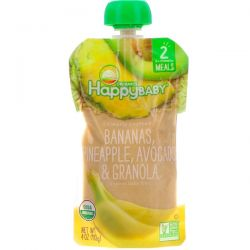 Nurture Inc. (Happy Baby), Organic Baby Food, Stage 2, Clearly Crafted, Bananas, Pineapple, Avocado & Granola, 6+ Months, 4 oz (113 g)