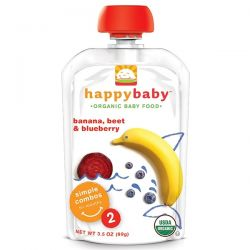 Nurture Inc. (Happy Baby), Organic Baby Food, Banana, Beets & Blueberry, Stage 2, 6+ Months, 3.5 oz (99 g) Pozostałe
