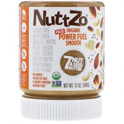 Nuttzo, Organic, Power Fuel, 7 Nut & Seed Butter, Smooth, 12 oz (340 g)