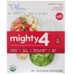 Plum Organics, Tots, Mighty 4, Nutritious Blend of 4 Food Groups, Strawberry - Banana, Kale, Greek Yogurt Oat, Amaranth, 4 Pouches, 4 oz (113 g) Each Pozostałe