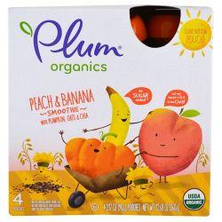 Plum Organics, Smoothie, Peach & Banana, Pumpkin, Oats & Chia, 4 Pack-3.17 oz (90 g) Each Biografie, wspomnienia