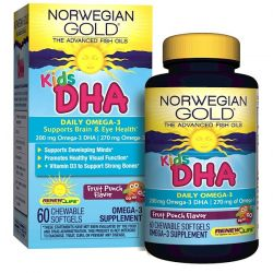 Renew Life, Norwegian Gold, Kids DHA, Fruit Punch Flavor, 60 Chewable Softgels
