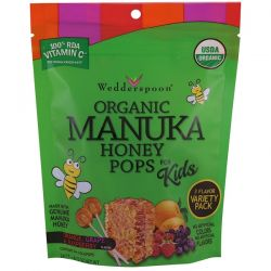 Wedderspoon, Organic Manuka Honey Pops For Kids, Orange, Grape & Raspberry, 24 Count, 4.15 oz Pozostałe