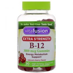 VitaFusion, Extra Strength B-12, Natural Cherry Flavor, 3000 mcg, 90 Gummies