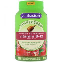 VitaFusion, Simply Good, Vitamin B-12, Natural Pomegranate Flavor, 3000 mcg, 130 Gummies