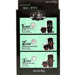 Secret Key, Black Out, Pore 3-Step Nose Pack, 5 Pieces