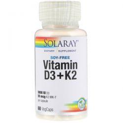 Solaray, Vitamin D3 + K2, Soy Free, 60 VegCaps