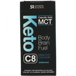 Sports Research, Keto C8, Caprylic Acid MCT, Unflavored, 15 Packets, 0.5 fl oz (15 ml) Each
