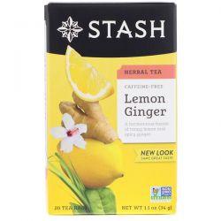 Stash Tea, Herbal Tea, Lemon Ginger, Caffeine Free, 20 Tea Bags, 1.1 oz (34 g) Biografie, wspomnienia
