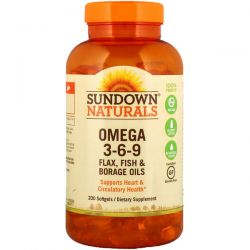 Sundown Naturals, Omega 3-6-9 Flax, Fish & Borage Oils, 200 Softgels Pozostałe