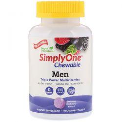 Super Nutrition, SimplyOne, Men Triple Power Multivitamin, Wild-Berry Flavor, 90 Chewable Tablets Zdrowie i Uroda