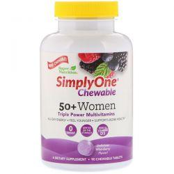 Super Nutrition, SimplyOne, Women 50+ Triple Power Multivitamin, Wild-Berry Flavor, 90 Chewable Tablets Zdrowie i Uroda
