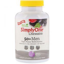 Super Nutrition, SimplyOne, 50+ Men Triple Power Multivitamin, Wild-Berry Flavor, 90 Chewable Tablets Zdrowie i Uroda