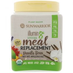 Sunwarrior, Illumin8, Plant-Based Organic Superfood Meal Replacement, Vanilla Bean, 14.1 oz (400 g) Zdrowie i Uroda