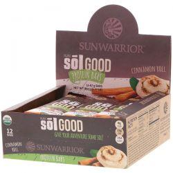 Sunwarrior, Organic Sol Good Protein Bars, Cinnamon Roll, 12 Bars, 2.36 oz (67 g) Each Zdrowie i Uroda