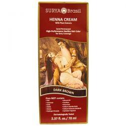Surya Henna, Henna Cream, High-Performance Healthy Hair Color for Grey Coverage, Dark Brown, 2.37 fl oz (70 ml) Zdrowie i Uroda