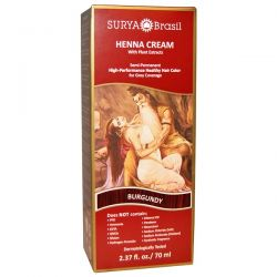 Surya Henna, Henna Cream, Hair Coloring & Conditioning Treatment, Burgundy, 2.37 fl oz (70 ml) Zdrowie i Uroda