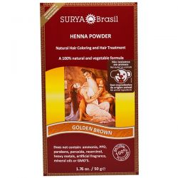 Surya Henna, Henna Powder, Natural Hair Coloring and Hair Treatment, Golden Brown, 1.76 oz (50 g) Zdrowie i Uroda