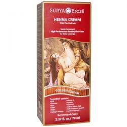 Surya Henna, Henna Cream, High-Performance Healthy Hair Color for Grey Coverage, Golden Brown, 2.37 fl oz (70 ml) Zdrowie i Uroda