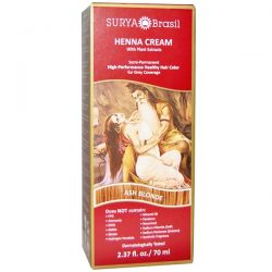 Surya Henna, Henna Cream, Hair Color and Conditioner, Ash Blonde, 2.37 fl oz (70 ml) Zdrowie i Uroda