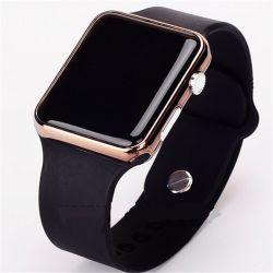 Cyfrowy zegarek na rękę czarno złoty