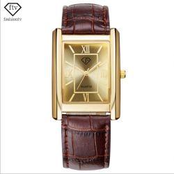 Prezentowy Męski Złoty Zegarek marki Ftv w pudełku