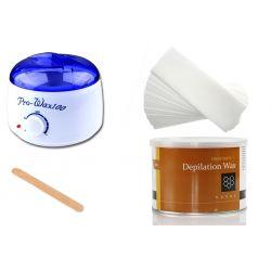 ZESTAW DEPILACJA podgrzewacz wosk w puszce paski +