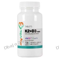 Witamina K2 MK7, 100mcg + D3 2000IU, MyVita, 250 tabletek Preparaty witaminowo-mineralne