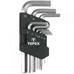 Klucze sześciokątne 1.5-10 mm, zestaw 9 szt. Topex 35D955 Płaskie, oczkowe, płasko-oczkowe