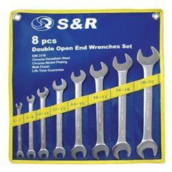 Zestaw kluczy płaskich S&R w pokrowcu 6 szt. 370055206 Płaskie, oczkowe, płasko-oczkowe