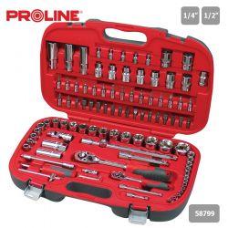 Klucze nasadowe 1/4 1/2 zestaw 99el. 4-32mm, Proline 58799 Spodnie