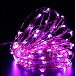 Lampki na drucie 100 LED/10mb 230V różowe