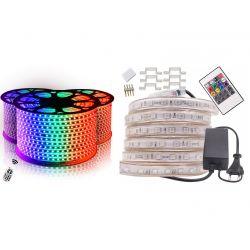 ZESTAW 5 mb TAŚMA LED RGB 230V WODOODPORNA + PILOT Lampy