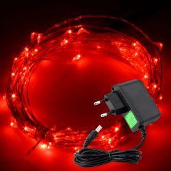 Lampki na drucie 100 LED/10mb 230V czerwone