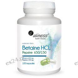 Betaine HCL, Pepsyna 650/150 mg x 100 kapsułek Pozostałe