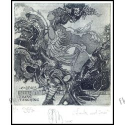Agirba Ruslan 2015 Exlibris C3 Leda and Swan Erotic Nude Woman Bird Vogel 358 Antyki i Sztuka