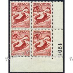 Grenlandia 1966 Mi 66 x4 ** Czesław Słania Pies Druk wklęsły