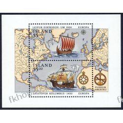 Islandia 1992 BL 13 ** Cept Statek Kolumb Mapa  Druk wklęsły