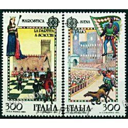 Italia 1981 Mi 1748-49 ** Europa Cept Szachy Koń  Kolejnictwo