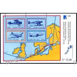 Finlandia 1988 BL 4 ** Samolot Lotnictwo Mapa Marynistyka