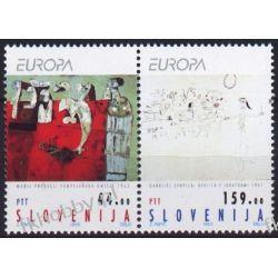 Słowenia 1993 Mi 48-49 zd ** Europa Cept Malarstwo Ssaki
