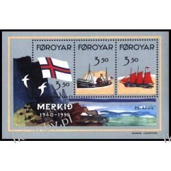 Wyspy Owcze 1990 Mi BL 4 ** Statek Marynistyka Polonica