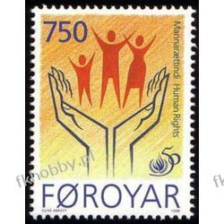 Wyspy Owcze 1996 Mi 340 ** Prawa Człowieka Dłoń