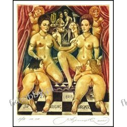 Kirnitskiy Sergey 2005 Exlibris C4 Sisters d'Estrees Erotic Nude Woman Art 106 Antyki i Sztuka