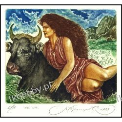 Kirnitskiy Sergey 1999 Exlibris C4 Mythology Europa and Bull Taurus Erotic 7 Antyki i Sztuka