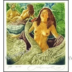 Kirnitskiy Sergey 1999 Exlibris C4 Mythology Leda and Swan Erotic Nude Bird 13 RFN