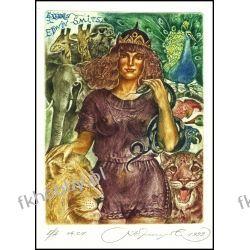 Kirnitskiy Sergey 1999 Exlibris C4 Fauna Tiger Cat Elephant Erotic Nude Bird 4 Antyki i Sztuka