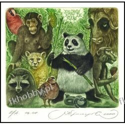 Kirnitskiy Sergey 2000 Exlibris C4 Bear Panda Monkey Bull Bird Parrot Cat 18 Antyki i Sztuka